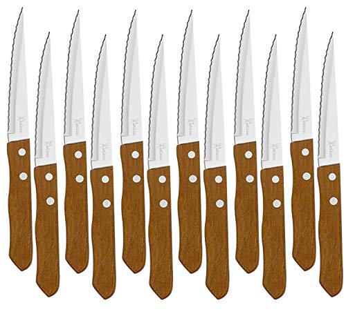 Juego de 12 Cuchillos de mesa con mango de madera natural, Cuchillo de Carne Acero Inoxidable - Hoja de Microdentado