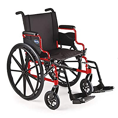 "Invacare 9000 XT High Performance Lighter Weight Wheelchair, with Desk Length Arms and T93HC Footrests, 16"" Seat Width, Electric Red"