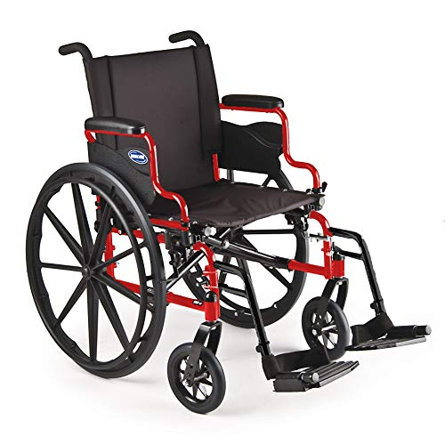 "Invacare 9000 XT High Performance Lighter Weight Wheelchair, with Desk Length Arms and T93HC Footrests, 18"" Seat Width, Electric Red"