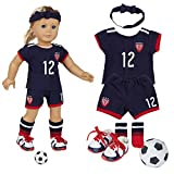 18 Inch Doll Clothes(Team USA 6 Piece Soccer Uniform,Inchudes Shirt,Shorts,Socks,Headwear,Football,Shoes,Fits 18' American Girl Dolls)