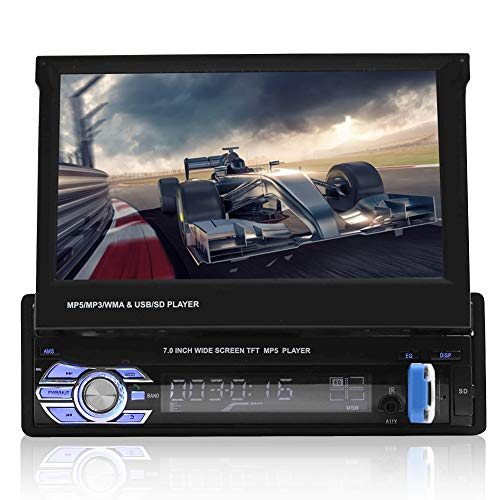 VBESTLIFE Bluetooth-Autoradio, 7In Car MP5 Video Player Einzelner Din-Car-Media-Player mit GPS-Funktion, Unterstützung für APE, FLAC, WAV, Dis-Formate