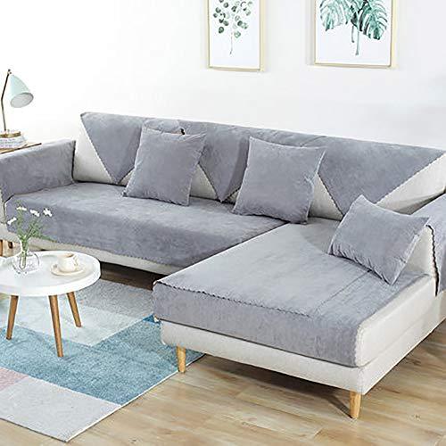 L&VE Impermeable Mascota Perro Fundas de sofá, Color sólido Resistentes a Las Manchas Sofá Funda Cubre sofá Muebles Clip de Dinero -Vender por Pieza-Gris 43x63inch