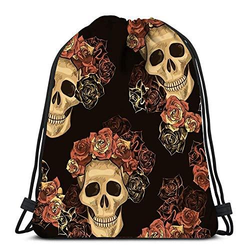 Lmtt Mochila con cordón Day of The Dead Dias De Los Muertos Roses and Skull Vintage FA Durable para Llevar