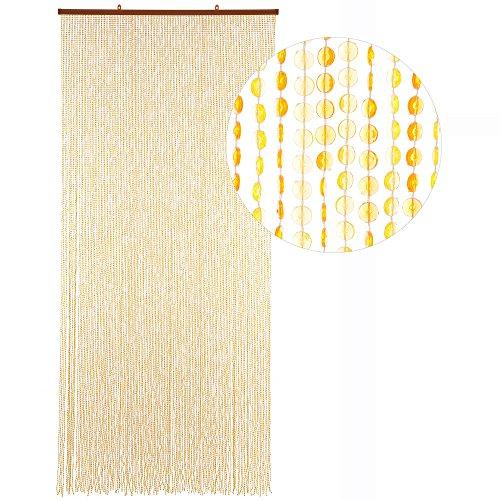 HAB & GUT Türvorhang Mini-DIAMANTEN, GELB/ORANGE, 90x200 sehr dicht, Insektenschutz Perlen Pailettenvorhang