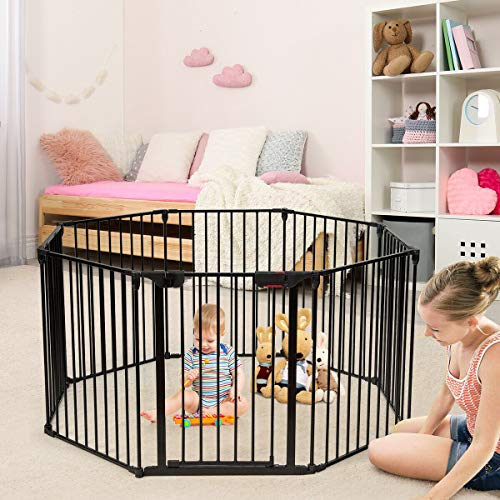 Costzon 204-Inch Wide Baby Safety Gate, 8-Panel Fireplace Fence with Walk-Through Door in Two Directions, 4 Pack of Wall Mounts, Wall-Mount Metal Play Yard for Toddler/Pet/Christmas (8-Panel,Black)