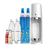 SodaStream Fizzi One Touch Sparkling Water Maker Bundle (White) with CO2, BPA free Bottles, and…