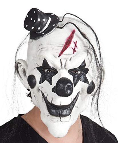 Boland 97507 Latex Kopfmaske Psycho Clown mit Haar, Schwarz/Weiß, Taglia Unica