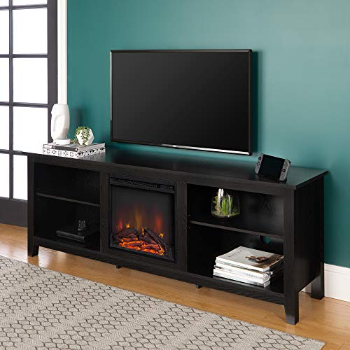 "Walker Edison Minimal Farmhouse Wood Fireplace Universal Stand for TV's up to 80"" Flat Screen Living Room Storage Shelves Entertainment Center, 70 Inch, Black"