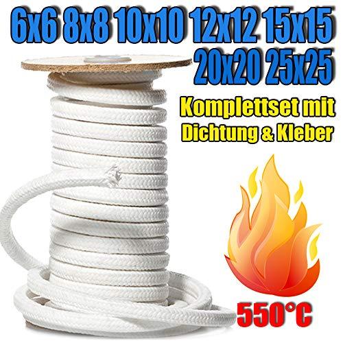 Kamindichtung Ofendichtschnur aus GLASFASERN, Kaminschnur asbestfrei, hitzebeständig bis 550°C, viele Größen, inkl. feuerfestem Montagekleber