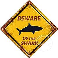 サメの警告サインに注意してください注意交差点サインヴィンテージ通知壁の装飾金属ポスター野生の池のプラーク工芸品ファームフォレストフィールド砂漠