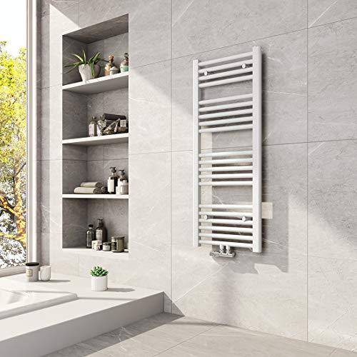 Meykoers Badheizkörper 1000x400mm Mittelanschluss 481 Watt Weiß, Handtuchtrockner Handtuchwärmer Design Heizkörper für Bad Heizung Radiator