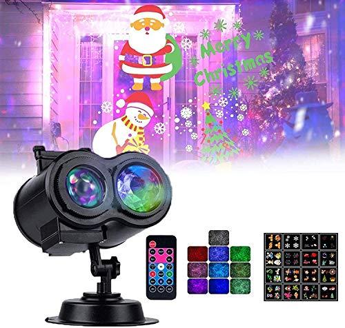 CNMGM Weihnachtsprojektor LED-Leuchten, 16 Folien Doppelprojektionslampe, wasserdichte Außenwasserwellen-Projektor-Licht Für Party, Geburtstag