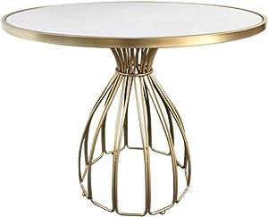 Mesa de Centro de mármol, Mesa Redonda, Estructura de Metal y Hierro, para Hotel, Comedor, Sala de Estar en casa, Dorado