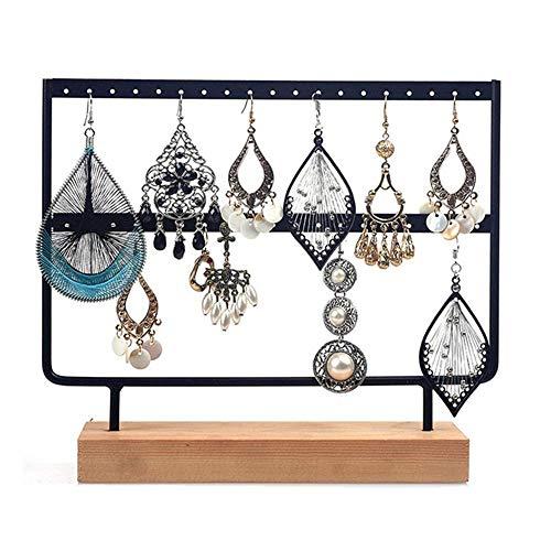 Schmuckständer für Ohrringe, Ohrringe, 2 Etagen, Schmuckständer mit Holztablett für Ohrringe, Halsketten, Armbänder, Ringe, Anhänger, Farbe: weiß, Größe: S