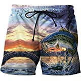 Bañadores Para Hombre Impresión 3D Pesca De Peces Animales Hombres Pantalones Cortos De Playa Short Homme 3D Print Secado Rápido Drawstring Boardshort Pantalones Deportivos Pantalones Cortos Surf