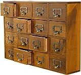 Cajón organizador del gabinete de medicina, gabinete de medicina tradicional - gabinete de escritorio ancho y pequeño w / 16 cajones - Mueble de boticario de mesa - Muebles orientales premontados - Ca