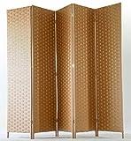 PEGANE Biombo de Fibras Naturales de 5 Paneles, Color...