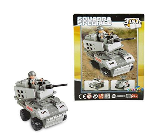 340660 Playset construcción 3 en 1 Tanque ESERCITO 110 piezas para montar