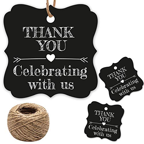 Thank You for Celebrating with Us Tags, 100Pcs Cool Black Thank You Tags for Wedding Birthday Baby Shower Party Favors, Paper Gift Tags with 100 Feet Jute String