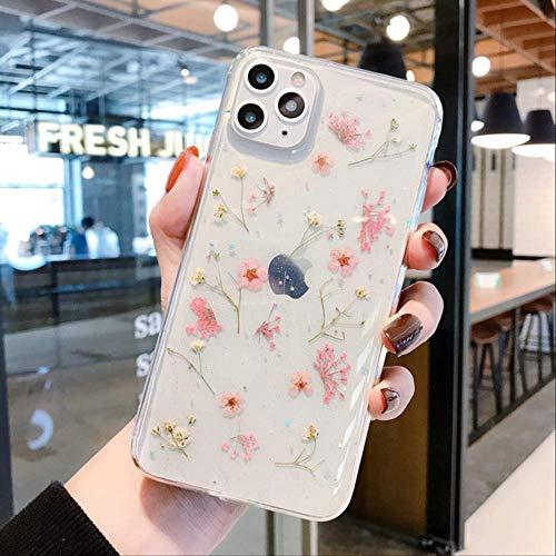 LIMITED Girly Weed Flower Phone Case para iPhone 11 Pro MAX X XS XR 7 8 Plus SE 2020 SE 2 SE2 Funda Transparente Coque Fundas a Prueba de Golpes para iPhone 6 6s Rosa