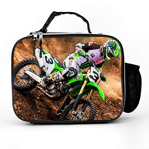 Beau Toby Removable Shoulder Reusable Dirt Bikes Motocross Sport Motorcycle Vehicle 3D Insulated Lunch Bag for Kids Boys Girls Animal Printed Cool Child Lunchbox Tote Food Container Cooler Boxes
