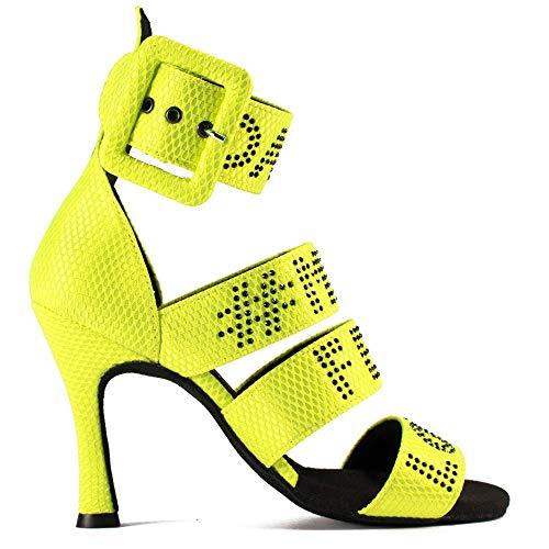 Manuel Reina - Zapatos de Baile Latino Mujer Salsa Obsession Y - Bailar Bachata, Salsa, Kizomba (37 EU, Tacón: 7.5)