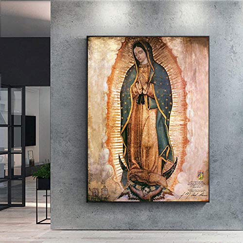 QZROOM Decoración de Pared El día de la Virgen de Guadalupe Carteles e Impresiones Lienzo Arte de la Pared Cuadro de Retrato en Lienzo para decoración de Sala de Estar | 50x70cm / Sin Marco