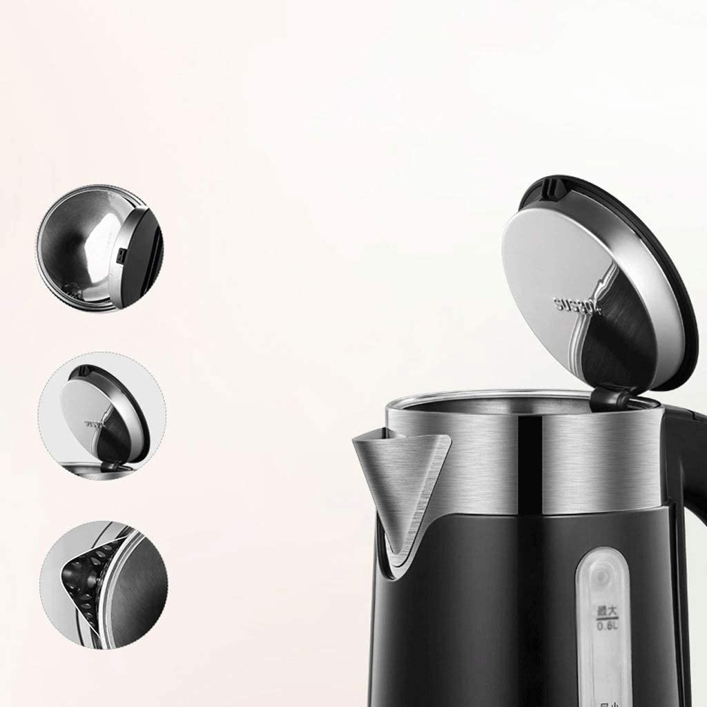 WZHZJ Bouilloire électrique à Double paroi en Acier Inoxydable avec chaudière Automatique à Sec, à Fermeture Automatique et à ébullition, Couleur: Noir, Blanc (Color : White) Black