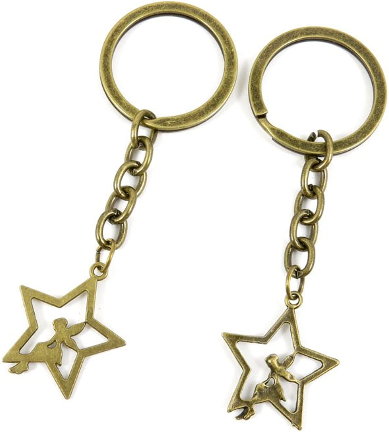 100 PCS Keyrings Keychains Key Ring Chains Tags Jewelry Findings Clasps Buckles Supplies M7TG9 Star Fairy Elf