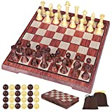iBaseToy Magnetic Travel Chess Set and Draughts Board Game, 2 in 1 Chess and Draughts Set Chess Checkers Game Set for Kids and Adults, Foldable/Portable Board with 2 Storage bag - 36 x 31cm