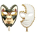 YU FENG 2 Pack Couple's Venetian Cosplay Masks Venetian Musical Carnival Mardi Gras Masquerade Mask On a Stick Party Fancy Dress