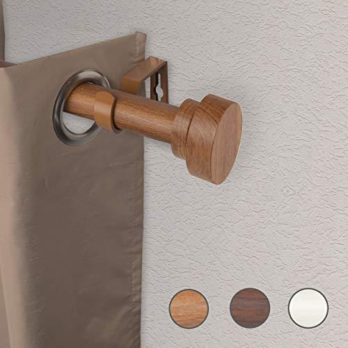 """Rod Desyne W100-37-48W3 1"""" Bonnet Faux Wood Single Curtain Rod, 48-84 inch, Chestnut"""