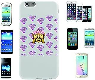 """Teléfono Móvil """"affendame no Evil ver con rosario de cabeza y diamantes en el fondo"""" para Apple Samsung- LG- Huawei- Sony- HTC/Teléfono celular tapa para iPhone 4,5,6,7- Galaxy s2,3,4,5,6,7- -- p9- con Smiley- Emoji Apple IPhone 4/ 4S"""