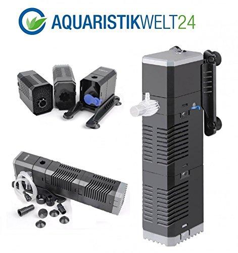 AquaOne Chj-1502 Aquarium Innenfilter Regelbar Bis 500 Liter Aquarien Nano Cube Eckfilter Pumpe Filter Schwammfilter Wasserfilter Leise