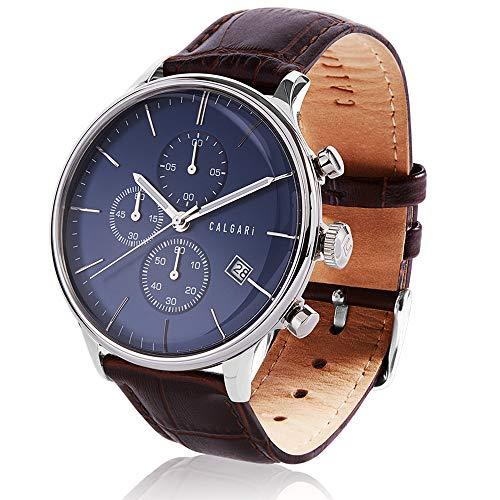 Calgari Conscio - Reloj de Pulsera para Hombre con cronógrafo de Cuarzo (Esfera Azul y Cromo)