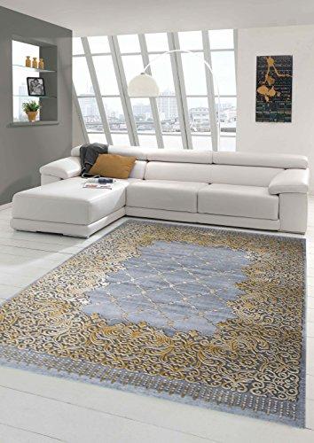 Traum Teppich Designerteppich Moderner Teppich Wohnzimmerteppich Kurzflor Bordüre und Ornamente mit Konturenschnitt in Grau Beige Gold, Größe 80x300 cm