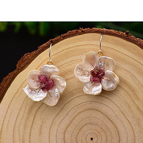 SALAN Pendientes Colgantes De Flores De Perlas De Agua Dulce Naturales Hechos A Mano Originales para Mujer Pendientes De Gota De Amatista Joyería Fina