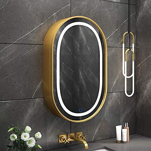 KAISIMYS LED-Badezimmerspiegelschrank, ovaler Wandschrank, Spiegelschrank, 80H x 50W, moderner Schrankschrankspiegel, GoldB