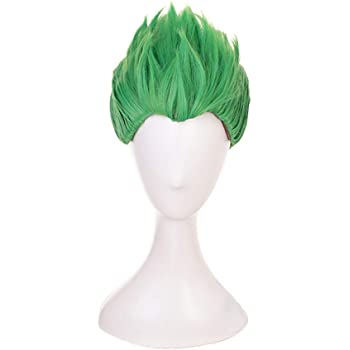 Man's Short Green Special Shape Green Cosplay Wig Halloween Wig for Gme