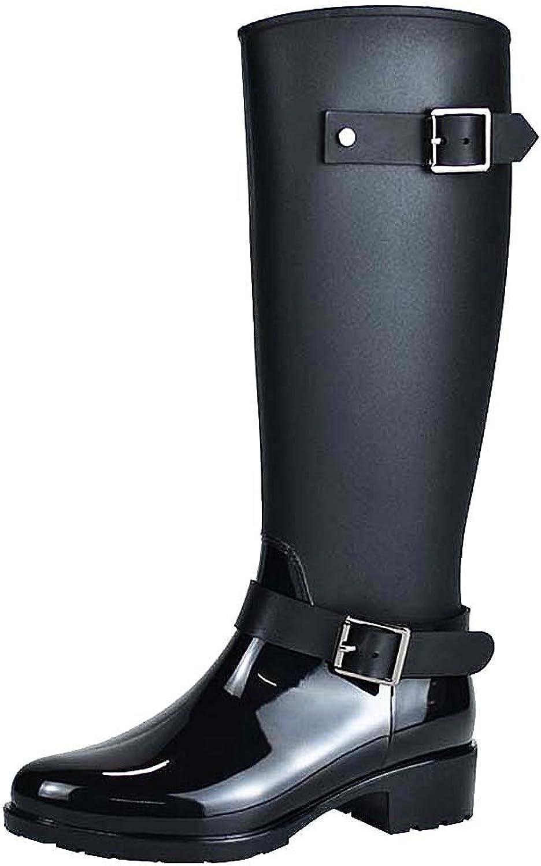 Jamron Women Stylish Snow Rain Festival Tall Wellies Adjustable Buckle Strap Knee High Zip Wellington Boots