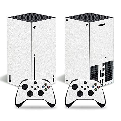 Schutzfolie für Microsoft Xbox Serie X Konsole, Vinyl, mit 2 Controller-Aufklebern, Weiß 2