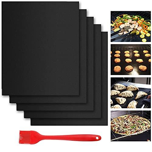 Dauerbackfolie für Backofen(5er Set),40x33cm Backpapier Wiederverwendbar Dauerbackmatte für Kuchen Pizza Grill,BPA Free ,Zuschneidbar und Spülmaschinenfest