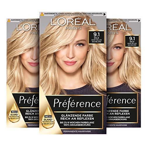 L\'Oréal Paris Préférence 9.1 Sehr Helles Aschblond (Oslo) 3er Pack(3 x 183 g)