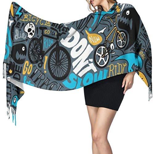 Scialle Scialle Avvolge BMX Jumble Alphabet Sciarpa grande Morbida Morbida Calda Lussuosa Per Donne Impiegate Viaggi