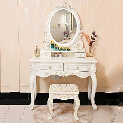 Frisierkommode Schminkkommode Schminktisch mit leichtem Waschtisch mit Touchscreen Oval verstellbarer beleuchteter Spiegel, 2 Schubladen Gepolsterter Hocker Make-up-Schreibtisch Einfache Montage Sch