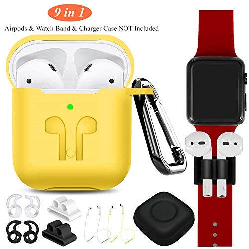 AirPods Silicone Case Compatible Apple AirPods 2&1,9 in 1 AirPods Accessories Set Protective Cover and Skin with Earpods Keychain/Strap/Ear Hook/Carrying Box-Yellow