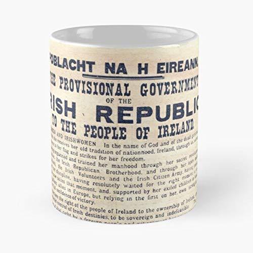 Taza de café de cerámica de 1916 Rising Heireann Bunreacht Best de 11 onzas de la historia irlandesa de Pascua Na Irlanda 1916 Rising Heireann Bunreacht Best Taza de café de cerámica de 315 ml