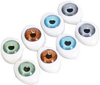 8Pair(16PCS) Oval Doll Eyes-Hollow Acrylic Doll Bear Craft Eyes Eyeballs for DIY Sewing Craft Puppet Bear Doll Animal Stuffed Toys (23mm x 16mm)