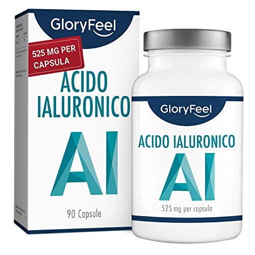 GloryFeel® Acido Ialuronico in Capsule ad Alto Dosaggio 525mg - 90 Capsule Vegane con 500-700 kDa per 3 Mesi di Trattamento - 525mg Puro Acido Ialuronico per Capsula