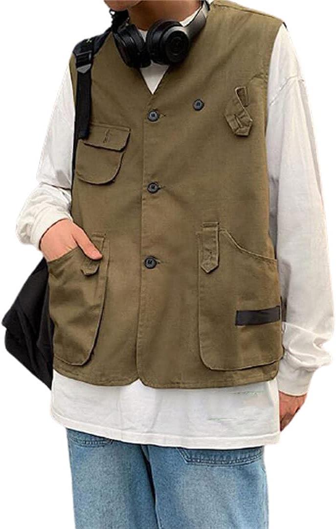 Men Multi Pocket Outdoor Casual Loose Vest Men's Korean Youth Sleeveless Jacket Vest